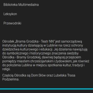 """Strona na 25-lecie Ośrodka """"Brama Grodzka – Teatr NN"""""""